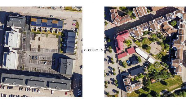 Två flygfoton över kvarter i städer