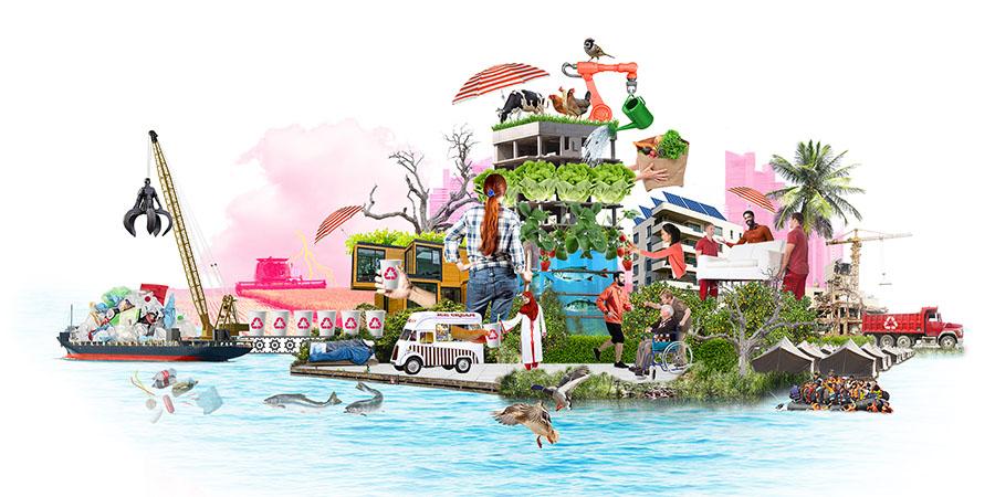 Ilustration av ett hus vid vatten, flera händelser pågår i bilden