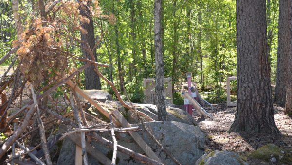En lekplats inne i en skog