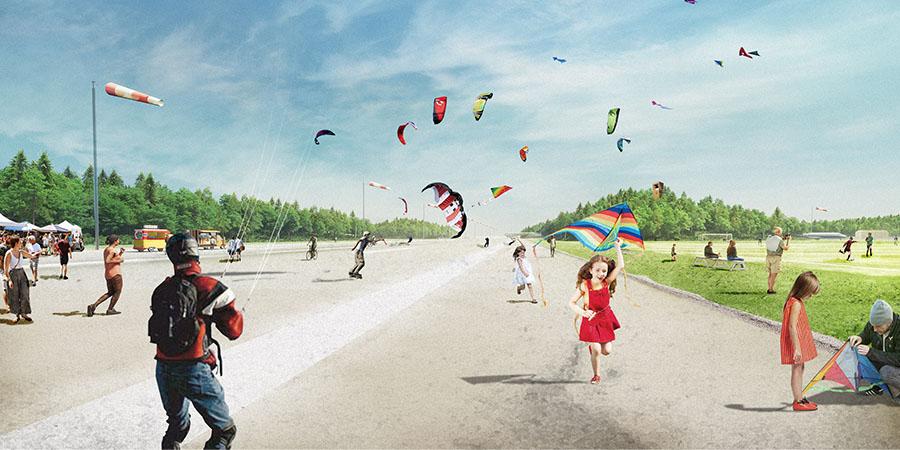 Illustration där flera barn och vuxna flyger drake på en asfalterad plan