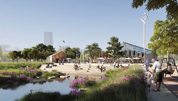 En illustration av park vid ett vattendrag, människor och byggnader finns med i bakgrunden