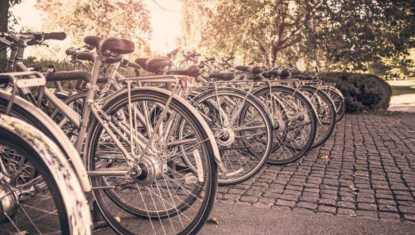 Cyklar parkerade utanför en park