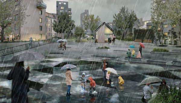 Illustration av ett vattenfyllt torg i dystopiskt ljus
