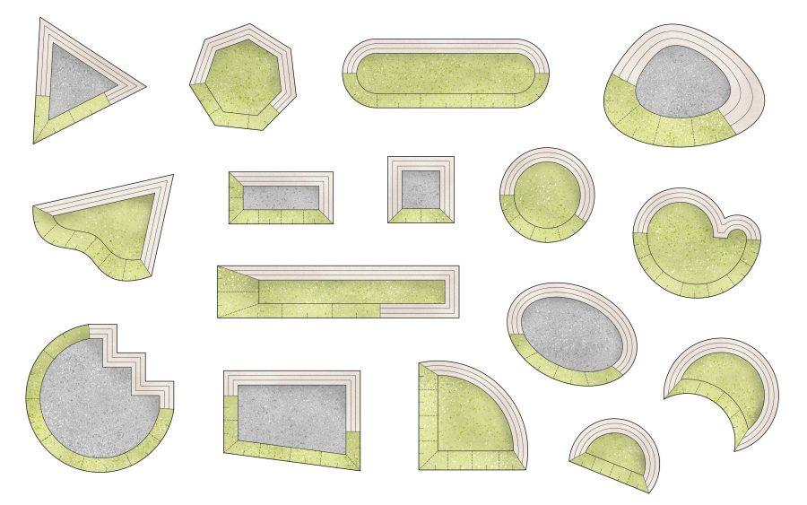 Former på Hydrodromer sett från ovan, olika typer av geometriska former